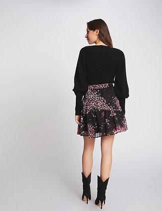 MORGAN DE TOI : Jupe évasée taille haute imprimé floral noir femme