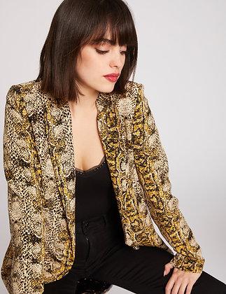 Veste droite col châle imprimé python multico femme