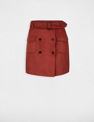 Jupe portefeuille double boutonnage rouge vin femme