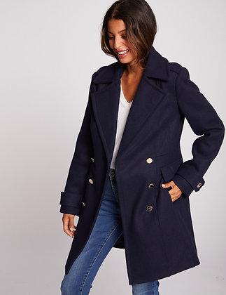 Manteau droit boutonné marine femme