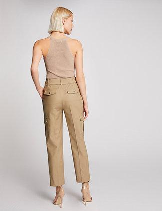 Pantalon droit taille haute ceinturé mastic femme