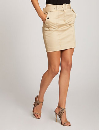 Jupe ajustée taille haute avec ceinture beige femme