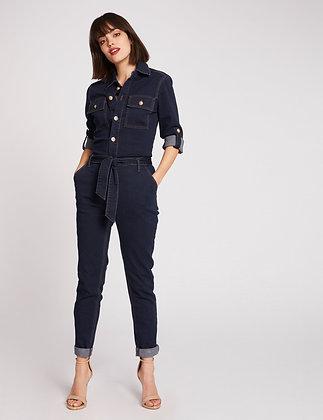 Combinaison droite ceinturée en jean jean brut femme