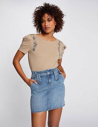 MORGAN DE TOI:Jupe ajustée taille haute en jean jean stone femme