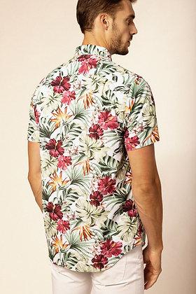 SERGE BLANCO : Chemise manches courtes à imprimé floral en coton organique