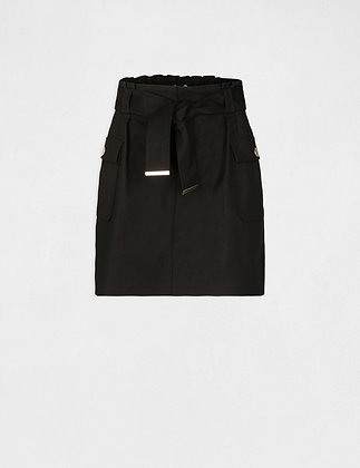 MORGAN DE TOI : Jupe droite taille haute ceinturée noir femme