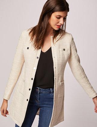 Manteau droit boutonné à col rond ecru femme