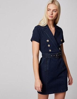 MORGAN DE TOI : Robe droite ceinturée en jean jean brut femme
