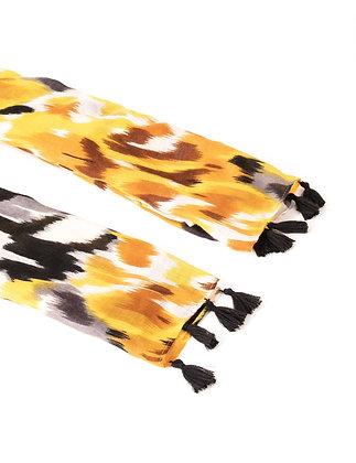 Foulard à imprimé abstrait moutarde femme