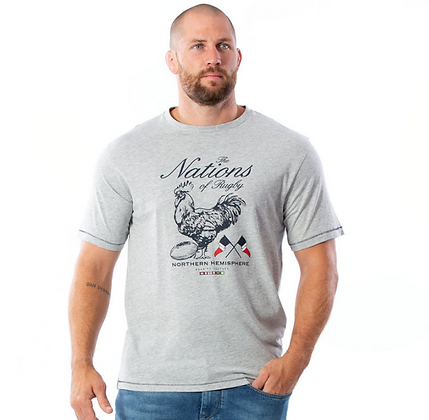 RUCKFIELD:  T-shirt manches courtes Nations Gris clair