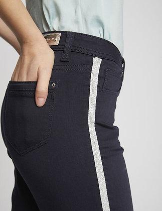 Pantalon ajusté avec bandes latérales marine femme