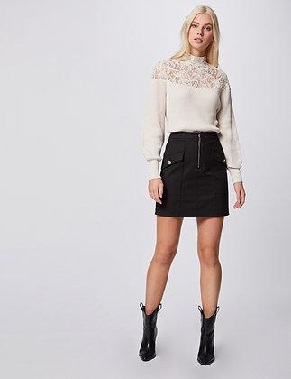MORGAN : Jupe droite taille haute zippée noir femme