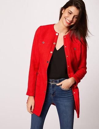 Manteau cintré boutonné à col rond rouge femme