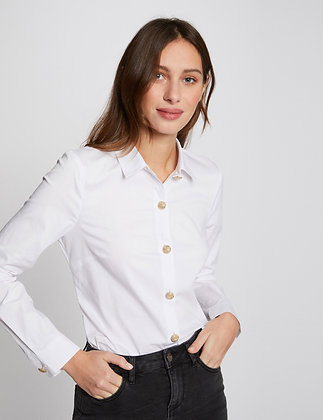 MORGAN : Chemise manches longues blanc femme