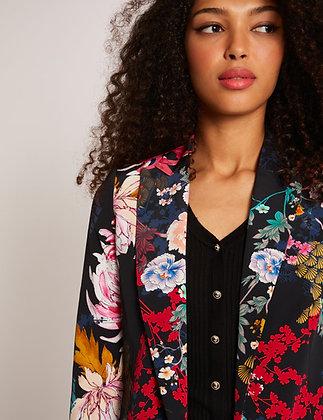 Veste droite boutonnée imprimé floral noir femme