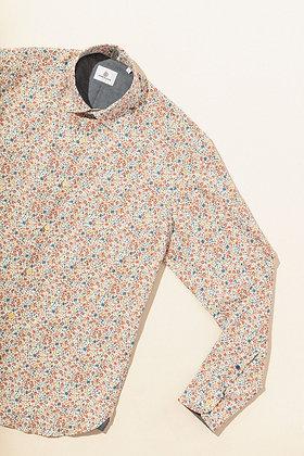 Chemise manches longues en popeline fantaisie fleurie