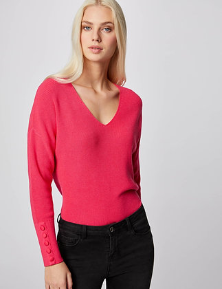 MORGAN : Pull manches longues avec boutons Rose femme