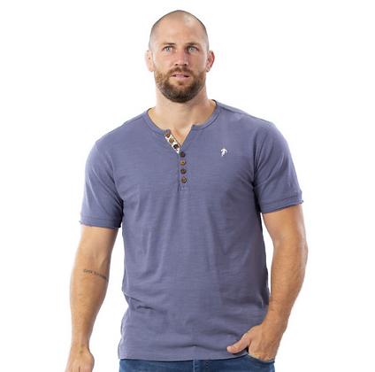RUCKFIELD : T-shirt gris boutons bois