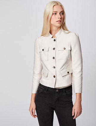 MORGAN : Veste droite boutonnée beige femme