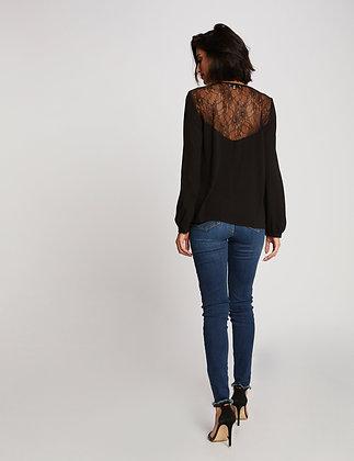 Blouse manches longues dos dentelle noir femme