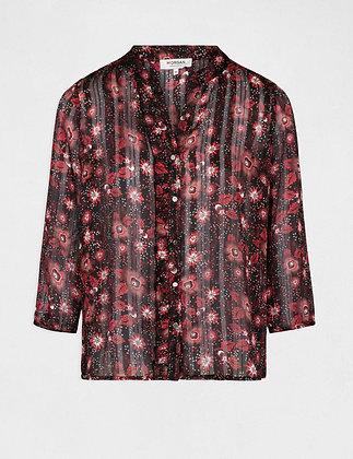 MORGAN DE TOI : Chemise manches 3/4 imprimé floral rouge femme