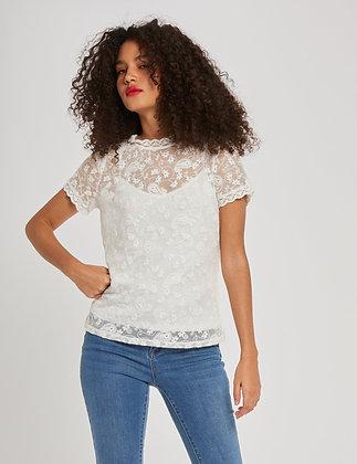 T-shirt manches courtes avec dentelle ecru femme