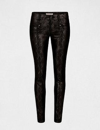 Pantalon skinny texturé effet python noir femme