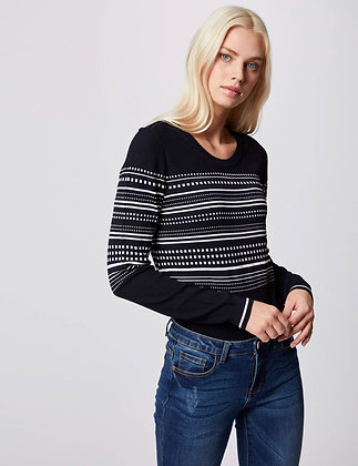 MORGAN: Pull manches longues à rayures marine femme