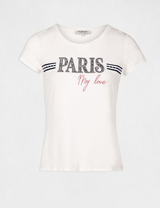 T-shirt manches courtes à inscription ecru femme