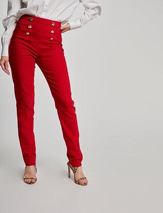 Pantalon slim taille haute à pont rouge femme