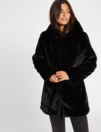 Manteau droit imitation fourrure noir femme