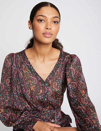 MORGAN: Chemise manches longues imprimée noir femme