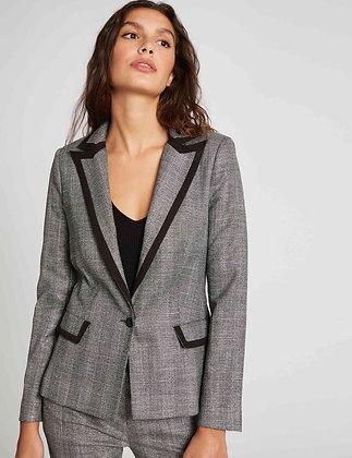 Veste blazer droite boutonnée argente femme