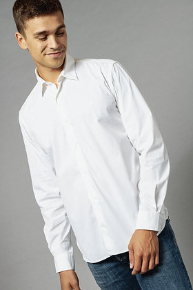 Chemise manches longues popeline stretch