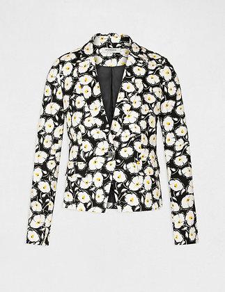 MORGAN DE TOI : Veste droite boutonnée imprimé floral noir femme