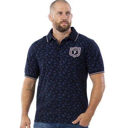 RUCKFIELD :  Polo en coton piqué imprimé Bleu marine