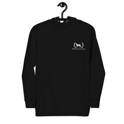 Unisex Black Embroidered Lost Lamb Cotton Hoodie