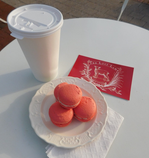 Coffee w/ Raspberry Macarons