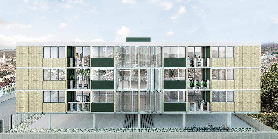 Fachada lateral do edifício em três pavimentos, com materiais e estrutura pré fabricados.
