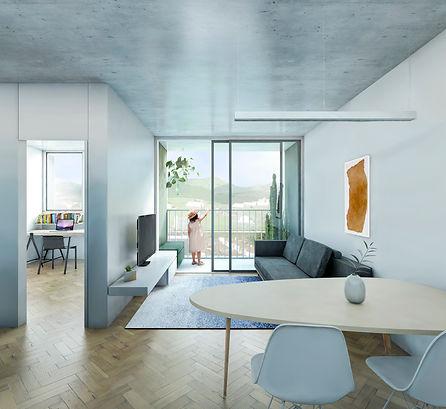 Apartamento em estilo minimalista, com piso em taco e laje pré moldada.