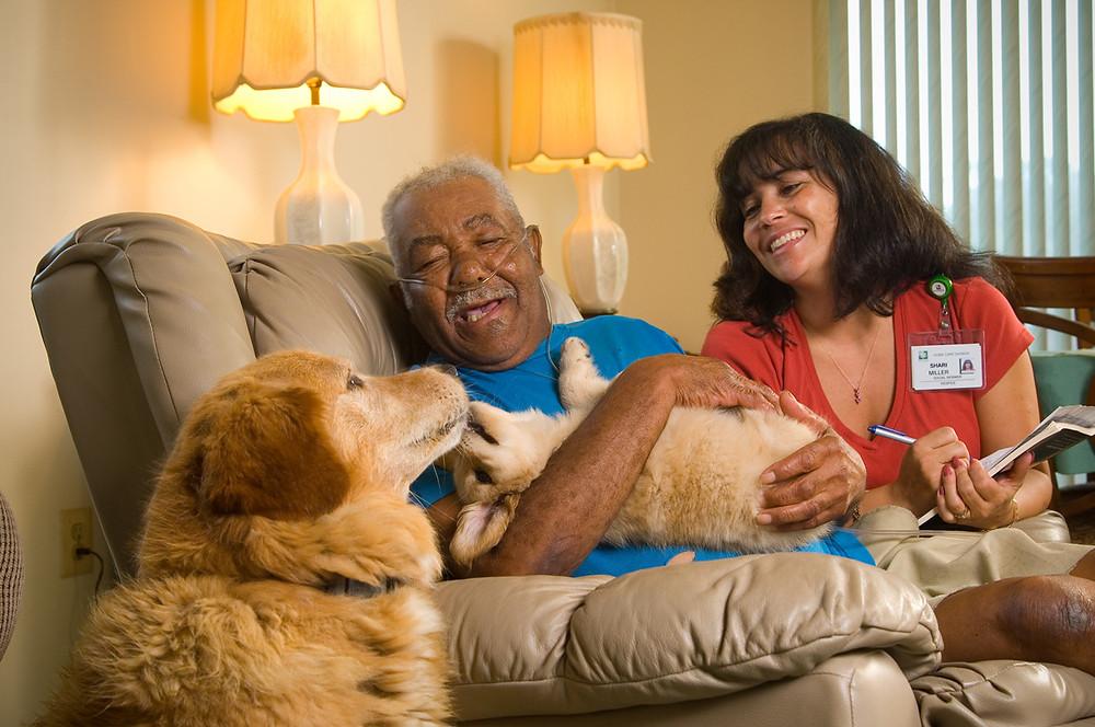 Home Healthcare aide helps a senior