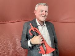 Werner mit Trompete als 3D Druck in Farbe (20cm)