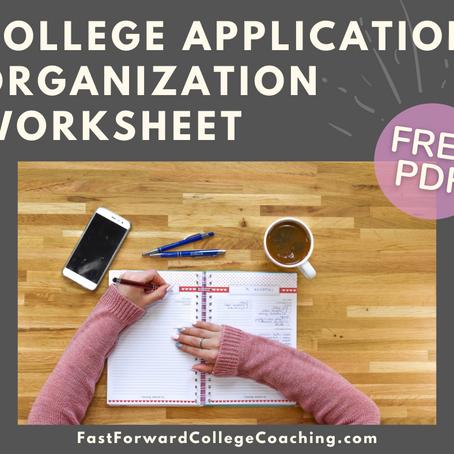 College Application Organization Worksheet (free pdf)