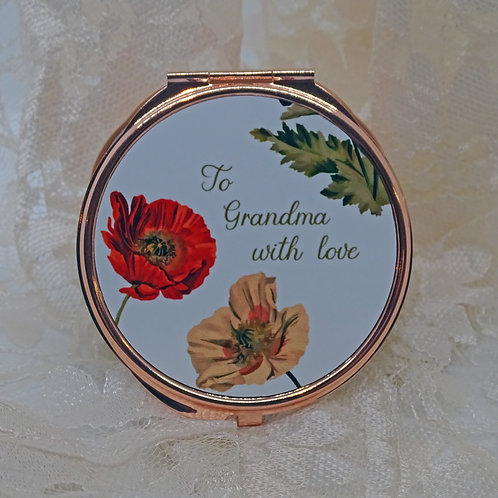 Personalised Poppies Compact Mirror