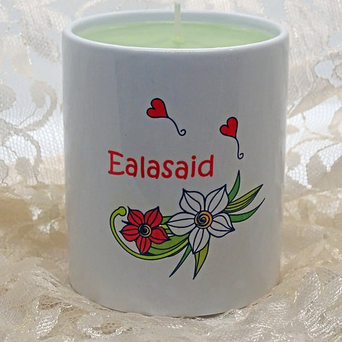 Personalised Meadow Flower Ceramic Candle Holder with Hand Poured Candle