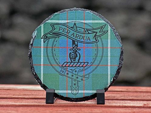 MacIntyre Tartan & Clan Crest round slate