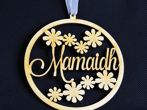 Scottish Gaelic Birchwood Mother's Day Decoration - flowers & Mamaidh