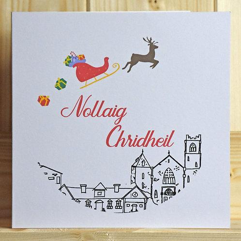 Scottish Gaelic Santa Sleigh Christmas Card