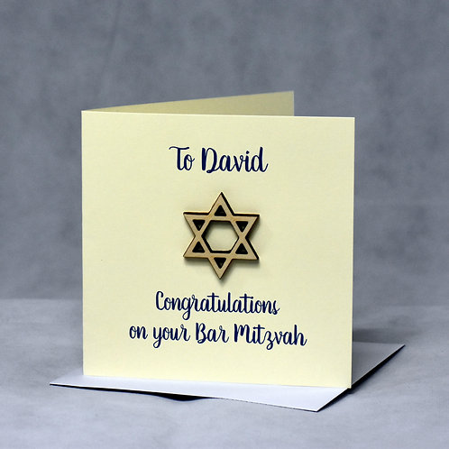 Personalised Bar or Bat Mitzvah Card, with birchwood Star of David