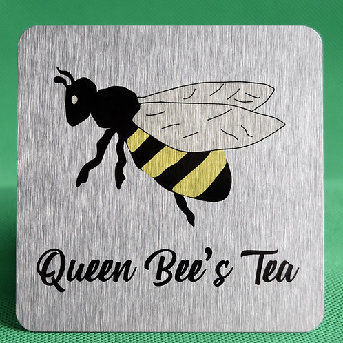 Queen Bee Brushed Silver Aluminium Coaster